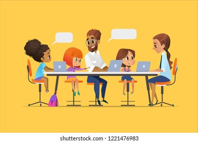 Happy children, tutor and teacher sitting at laptops and learning programming during school lesson. Coding for kids concept. Vector illustration for website, advertisement, poster.