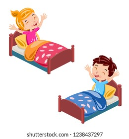 happy children wake up in the morning vector