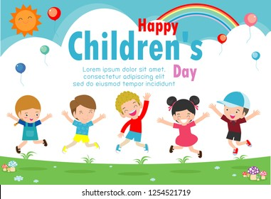 Happy children's day background poster with happy kids vector illustration