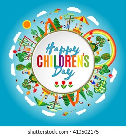 Happy childrens day background. Vector illustration of Universal Children day poster. Greeting card. Flat. Round frame.