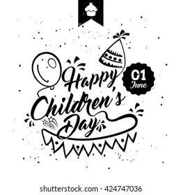 Happy children's day black & white card. Typographic background