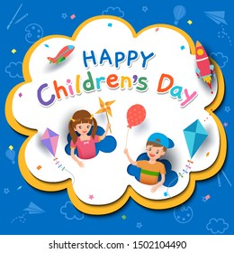 Happy Children's Day with boy and girl playing with toys on background.