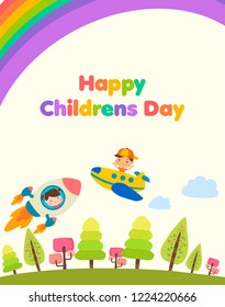 Happy children's day. Boys and girls character with toys.