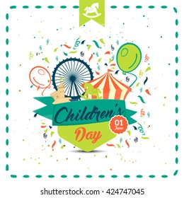 Happy children's day colored card. Typographic background