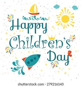 Happy children's day colorful card.