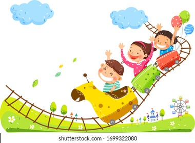 Happy children's day concept. Vector illustration with children