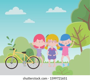 Happy Children's Day, cute group little girls with bike in park vector illustration