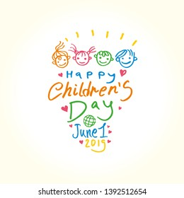 Happy Children's Day. Doodle holiday illustration to the International Children's Day. The logo is drawn by color markers. Children Art style sketch. Vector logo with funny baby faces by June 1, 2019.