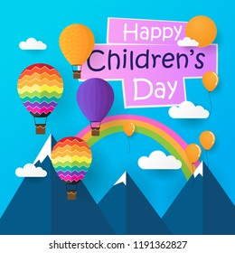 Happy Children's Day with flat design and fantasy.