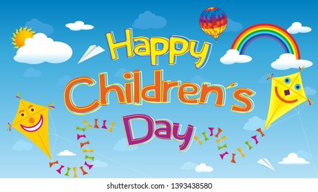 Happy Children's Day greeting card. Letters floating in the sky surrounded by smiling kites, clouds, rainbows, aerostat balloon and paper airplanes over a blue sky. Vector image