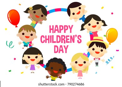 Happy Children's Day Poster With Kids In The Park Illustration. Royalty  Free Cliparts, Vectors, And Stock Illustration. Image 87919360.