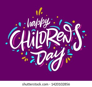 Happy Children's day. Holiday phrase. Hand drawn vector lettering. Isolated on violet backgound.