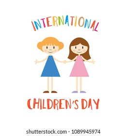 Happy children's day illustration. Cartoon little girls isolated on white. Flat design for invitations, banners and greeting cards