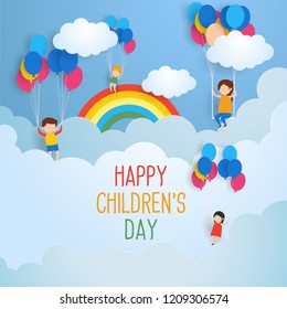 happy children's day for international children celebration. vector illustration