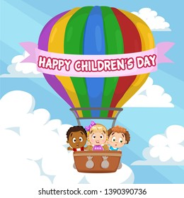 Happy children`s day lettering on ribbon. Multiracial boys and girl laughing, flying in colour hot air balloon in cloudy sky. Cartoon vector design for postcard, poster, greeting card, cover.