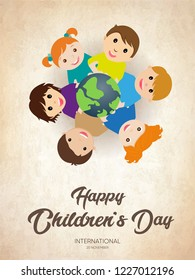 Happy Children's day poster with happy kids around the world illustration with typography text or font - 20 november