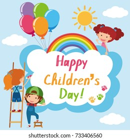 Happy Children's day poster with kids in sky illustration