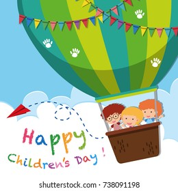 Happy children's day poster with kids on balloon illustration