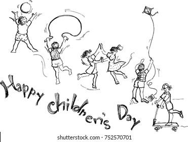 happy children's day, sketch
