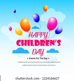 happy Children's day vector background. Cloud, ribbon with Children's Day title, balloons. Happy children's day colorful card.