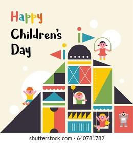 happy children's day vector illustration flat design
