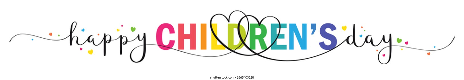 HAPPY CHILDREN'S DAY vector mixed typography banner with brush calligraphy and colorful hearts