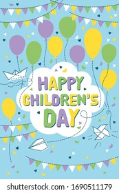Happy children's days greeting card with balloons and flags