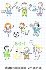 Happy children's in work wear. Sketch on notebook page