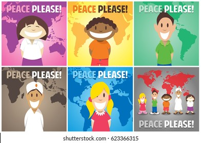 Happy childrens of the world asking for Peace Plase
