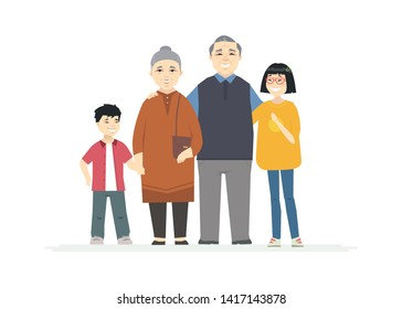 Happy Chinese grandparents - cartoon people characters illustration on white background. Smiling grandmother and grandfather hugging their grandchildren, standing together. Family concept