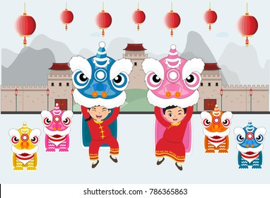 Happy Chinese. kids playing Chinese Lion dancing