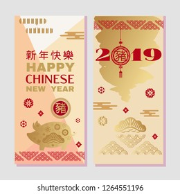 "Happy chinese new 2019 year, year of the pig. Pig  - symbol 2019 New Year.Chinese  characters translation: ""Happy New Year"". Template poster in oriental style.  Vertical banners. Vector illustration."