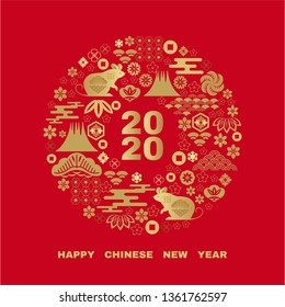 Happy chinese new 2020 year, year of the rat.  Chinese  characters translation: \