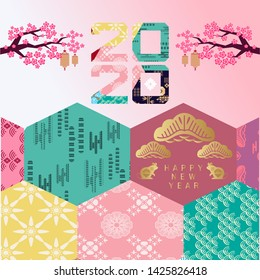 Happy chinese new 2020 year, year of the rat.  Japanese new year   with cloud, lantern and sakura floers.  Template banner, poster in oriental style.  Vector illustration.