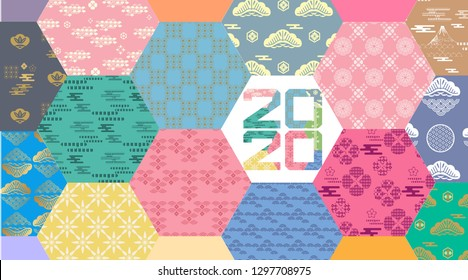 "Happy chinese new 2020year, year of the rat.  Chinese  characters translation: ""Happy New Year"". Template banner, poster in oriental style. Japanese, chinese elements. Vector illustration."