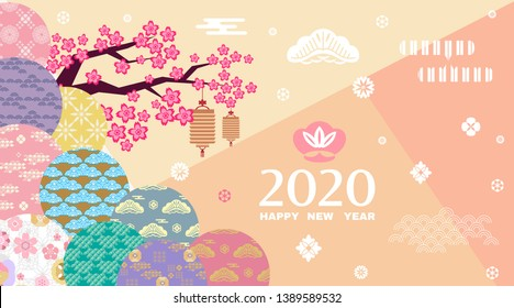 Happy chinese new 2020year, year of the rat.  Japanese new year   with cloud, lantern and sakura floers.  Template banner, poster in oriental style.  Vector illustration.