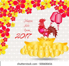 happy Chinese new year 2017 card is  Gold coins money, lanterns