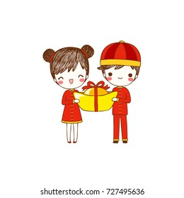 Happy chinese new year 2018 with cute cartoon boy and girl in traditional chinese clothes. Postcard, greeting card. Isolated on white background. Vector illustration. Flat design. Vector illustration.