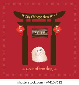 Happy Chinese New Year 2018 card. Symbol of the year is a dog. Pekingese dog with Wooden Arch and Red Lanterns on a red background.