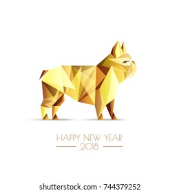 Happy Chinese New Year 2018. Vector greeting card, poster, banner with golden luxury low poly dog symbol. Gold french bulldog isolated on white background.