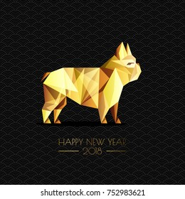 Happy Chinese New Year 2018. Vector greeting card, poster, banner with gold luxury dog symbol. Golden low poly style french bulldog dog on black background.