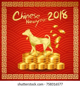 Happy Chinese New year 2018 with Millionaire Dog stand on Chinese gold coin pile /Year of the dog