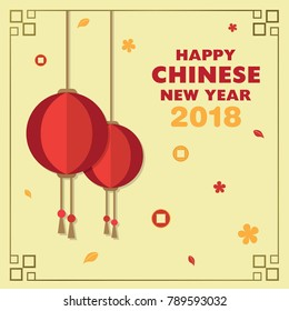 Happy Chinese New Year 2018 with Lampion