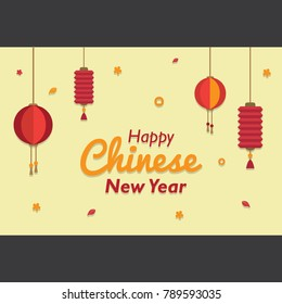 Happy Chinese New Year 2018 with Various Lampion