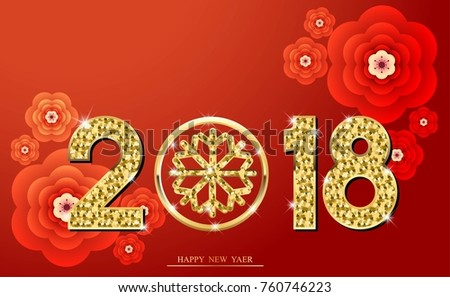happy chinese new year 2018 template design with inspiration from snowflake red and