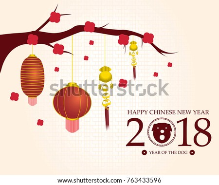 happy chinese new year 2018 template with red flowers and lanterns hanging on branch year