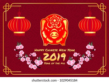 Happy chinese new year 2019 card with Red Gold pig zodiac sign and lantern and peach blossom in line chinese frame and red background vector design