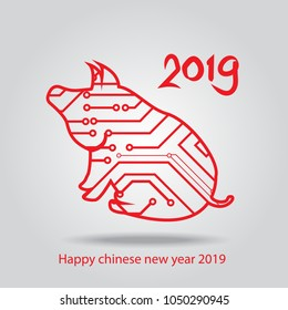 Happy Chinese New Year 2019 .Circuit board in site pig shape. Pig zodiac sign.