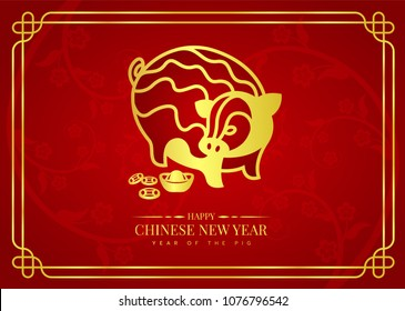 Happy chinese new year 2019 banner card with gold abstract line art pig zodiac sign and china money coin on red flawer background vector design