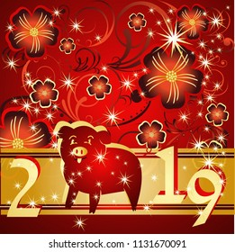 Happy Chinese New Year 2019 year of the pig. odiac sign for greetings card, flyers, invitation, posters, brochure, banners, calendar.